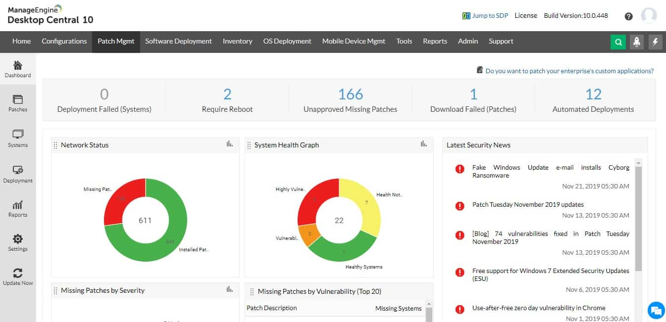 ManageEngine Patch Manager Plus dashboard