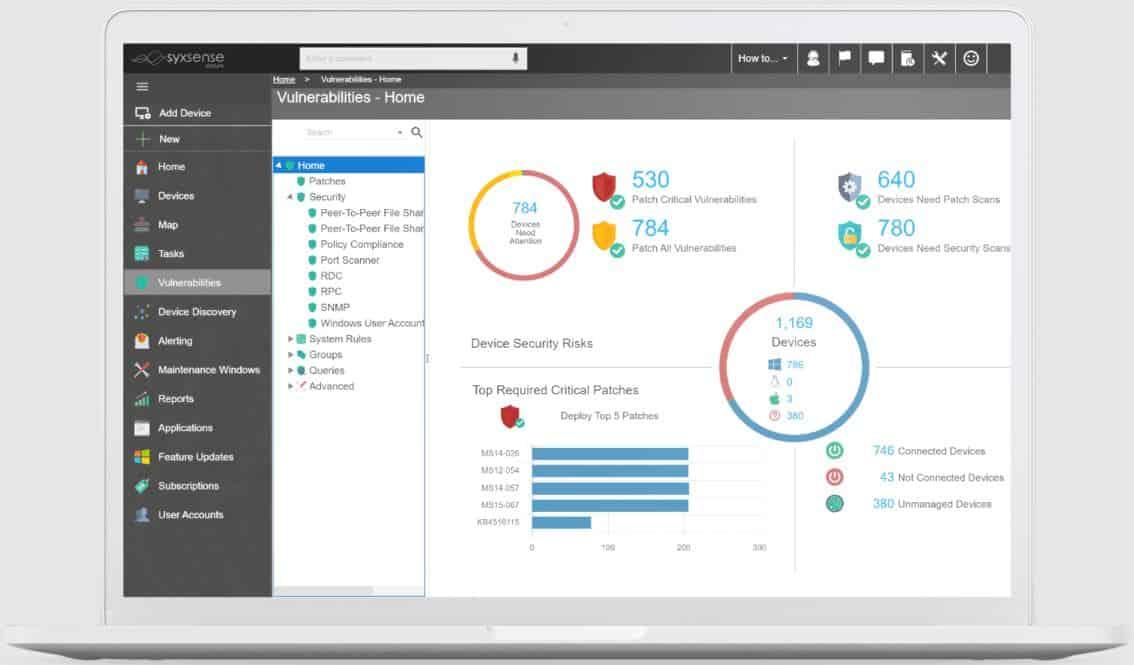 Syxsense Manage patch management dashboard