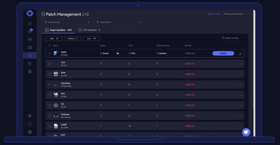 TOPIA server patch management dashboard