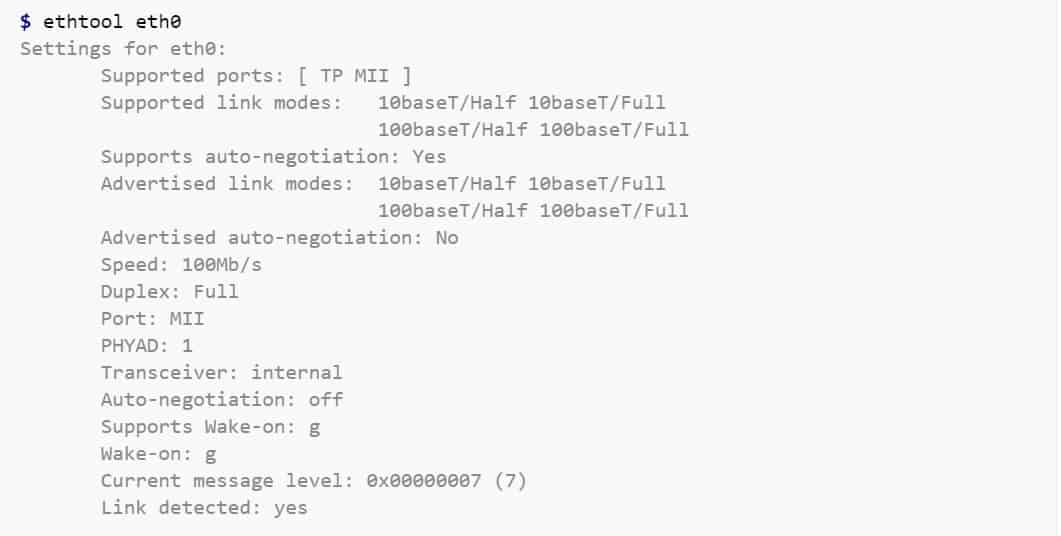 the parameters of a NIC (eth0) using the ethtool command