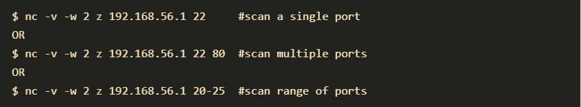Netcat port scanning examples