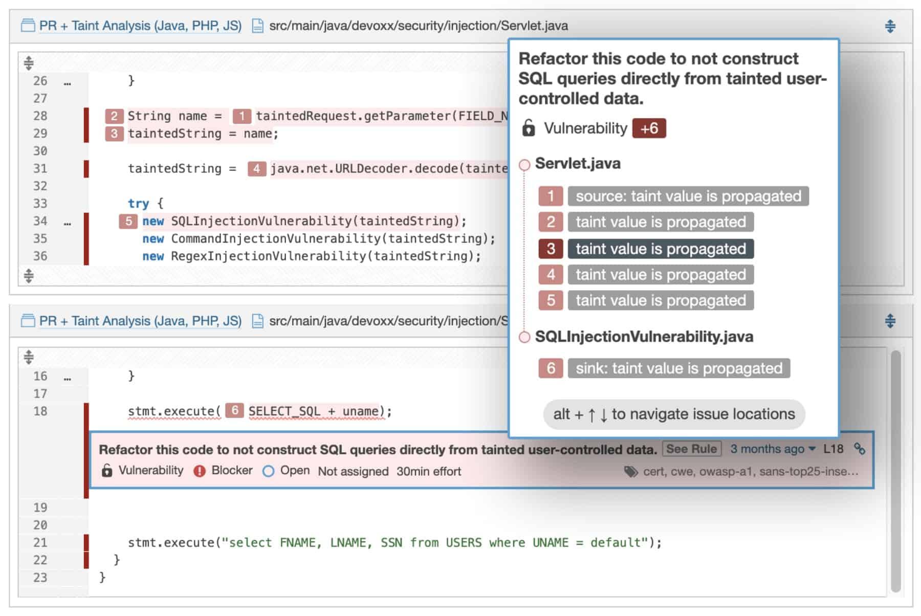 SonarQube code error screenshot