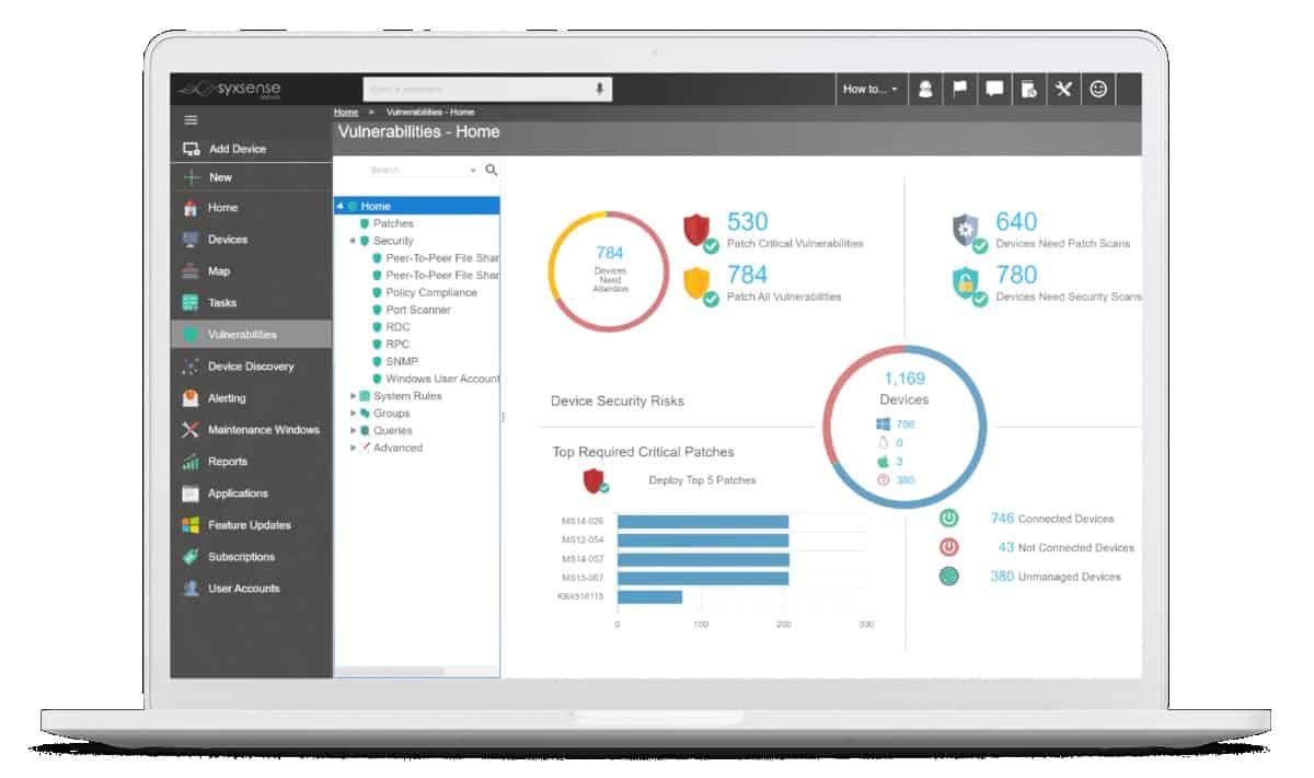 Syxsense application patch management dashboard