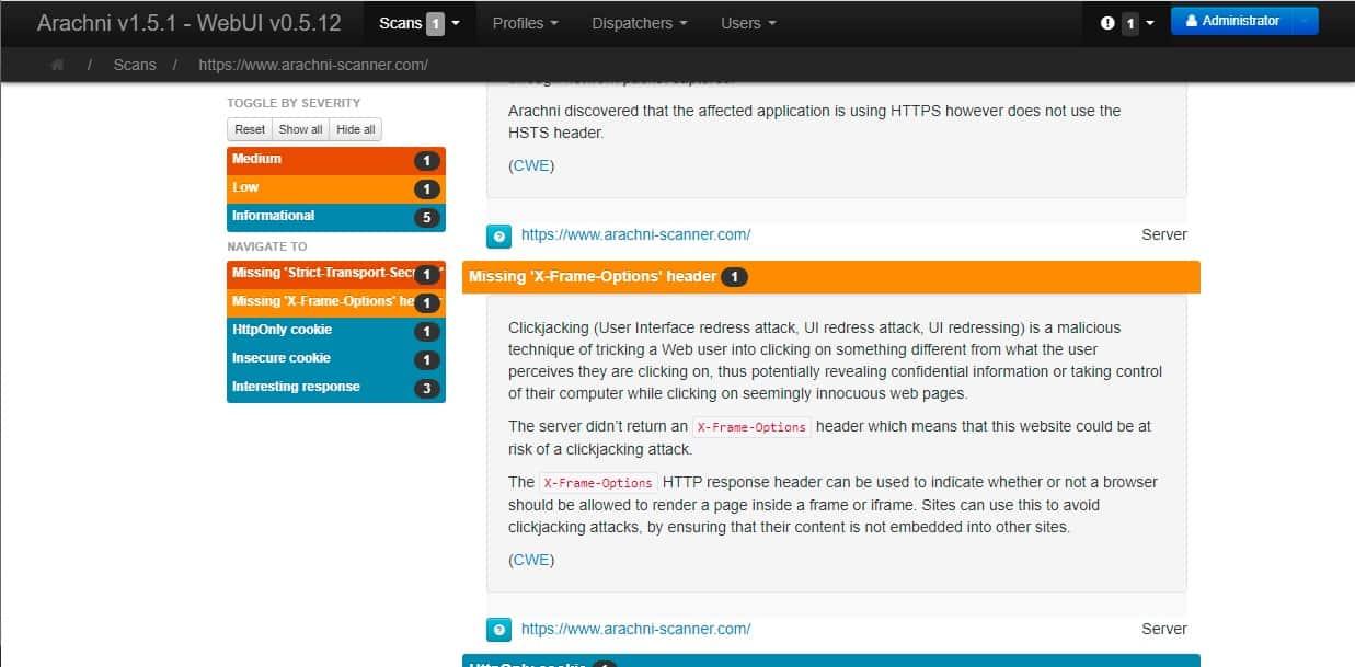 Arachni Web interface