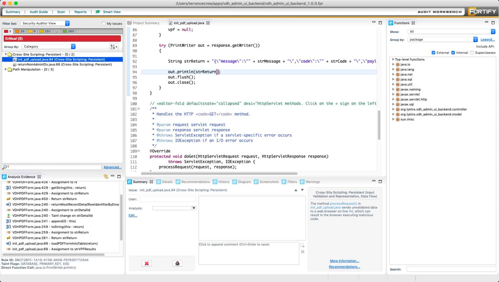 Micro Focus Fortify Static Code Analyzer (SCA SAST in action