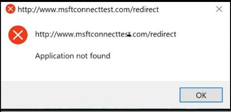 msftconnecttest redirect error