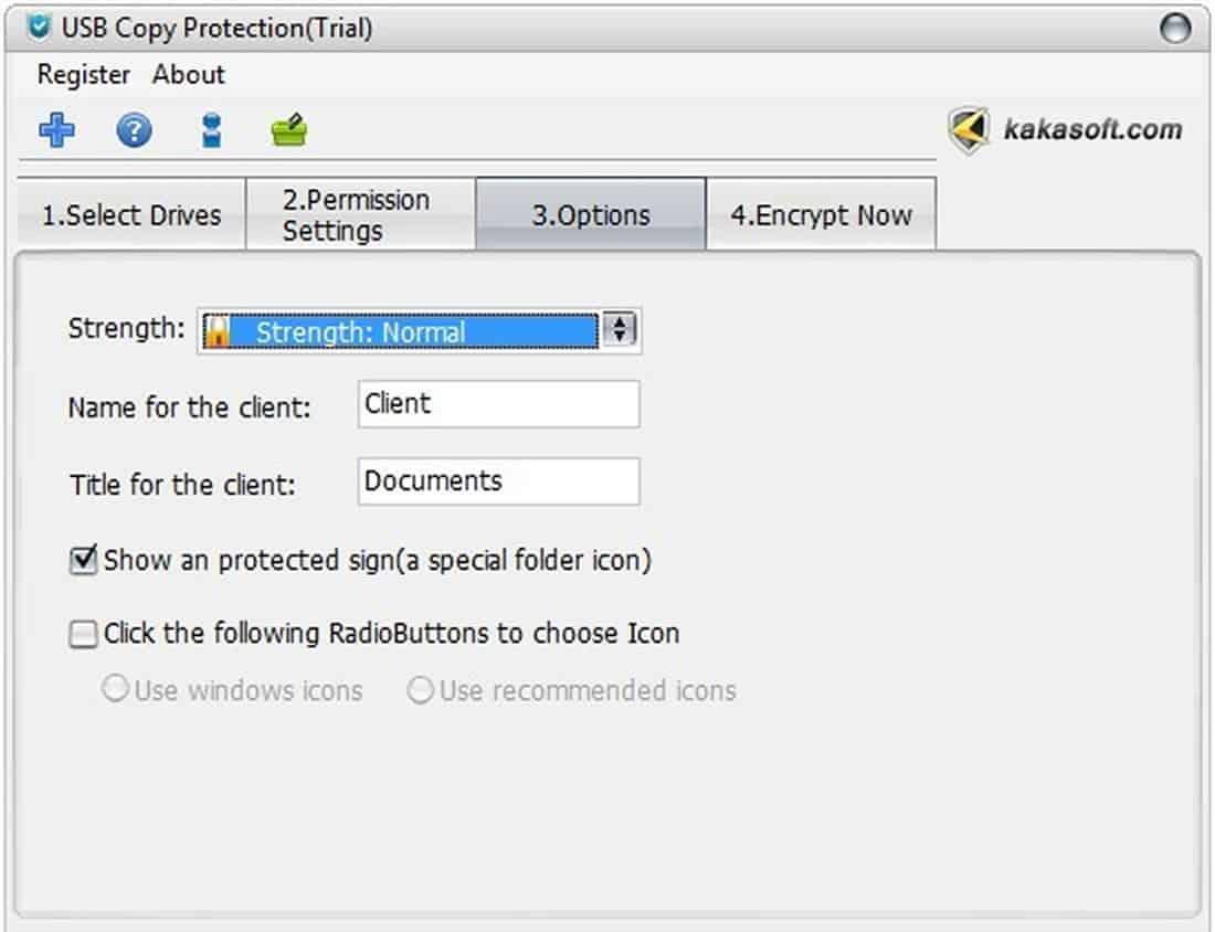 KakaSoft USB Copy Protection interface