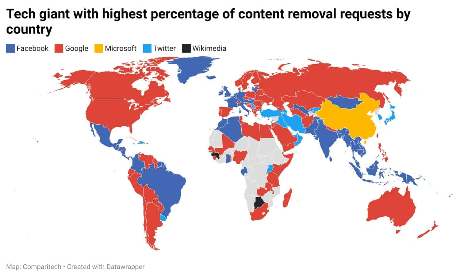Tech giant government content removal requests
